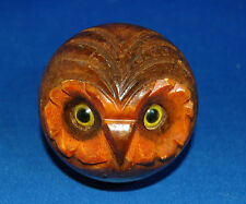 An attractive and characterful vintage owl head desk paperweight with glass eyes