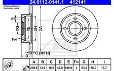 ATE Juego de 2 discos freno Antes 239,5mm para FORD FIESTA KA MAZDA