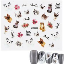 Nail Art Stickers Water Decals Transfers Love Cats (WG2152)