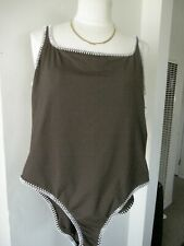 NEW W TAGS $94.00 LA BLANCA SWIMSUIT Sz 14 BROWN WITH WHITE STICHES ALL AROUND