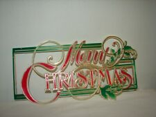 Vintage Plastic Christmas Decoration Sign Merry Christmas!