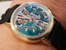 1964 Bulova  Accutron Swiss Large dial Spaceview  Watch 214 Braided leather band