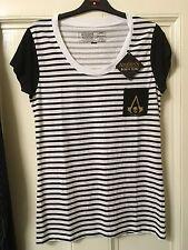 Raro para mujer Asassins Creed Rayas Camisa Pirata Black Flag Nuevo Nuevo Con Etiquetas Oficial