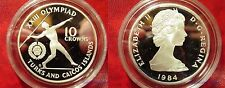 1984 Turks Caicos Large Silver Proof 10 cr Olympic Javelin