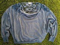 Anthropologie Meadow Rue Bria Lace Back Sweatshirt Dolman Sleeve Blue Size M