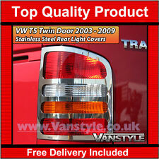 VW T5 CARAVELLE 03-09 TWIN DOOR CHROME REAR LIGHT COVERS QUALITY S.STEEL TRIMS