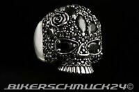 Bikerring 925 Silber Half Skull Totenkopf mit Rose schwarz Onyx Herren Geschenk