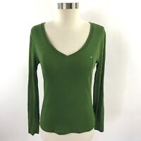 Tommy Hilfiger Womens Top Sz Medium Solid Green V Neck Long Sleeve Shirt