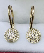 14k  Yellow Gold Natural Diamond earring Dangling Leverback April Birthstone