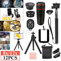 12Pcs 8X / 12X Zoom Universal Telephoto Telescope Cell Phone Camera Lens  $&g