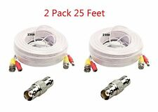 2 x 25ft BNC Video and Power Extension Cable with Connector for Security Camera