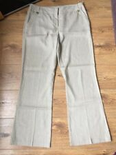 Ladies Linen Wide Leg Trousers Size 14 Beige BNWOT Summer Holiday
