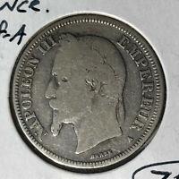 1868-A France 2 Francs Silver Coin
