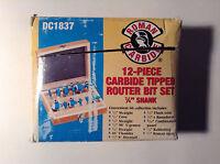 "Roman Carbide DC1837 12-Piece Carbide Tipped Router Bit Set 1/4"" Shank"