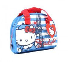 Officiel Hello Kitty Paris Filles Bleu Blanc Lunch Voyage Toile Sac de Bowling