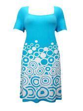 Ladies Sheego Blue & White Circle Border Print Shift Shortsleeve Dress UK16-24