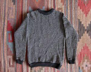 Vintage Birdseye Sweater, Norwegian Fisherman Sweater, Wool, 90s Sweater, Black