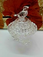 Vintage Hofbauer Byrdes Lead Crystal 3 Footed Bird Trinket Candy Dish W/ Sticker