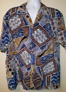 VTG Iolani Men's L Hawaiian Aloha Shirt Abstract Art Made in Hawaii, USA