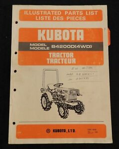GENUINE KUBOTA 4200 B4200 4WD TRACTOR PARTS CATALOG MANUAL VERY GOOD SHAPE