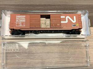 N Scale Micro-trains Canadian National 50' Box Car w/ wood load 796060