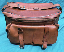 VINTAGE LEATHER CAMERA ACCESSORY KIT CASE MESSENGER POUCH 3 BUCKLE & ZIP STURDY