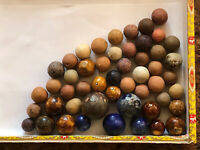 Mixed Color Collection Of 50 Civil War Era Clay Marbles & Benningtons