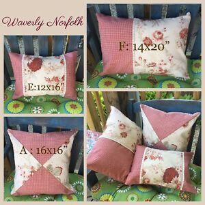 New Waverly Norfolk Vintage Rose Red Ivory French Country Cottage Pillow Cover