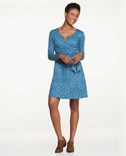 Toad & Co. Womens MED Cue Wrap Dress Hydro Patchwork Print Blue Knot V-Neck $85