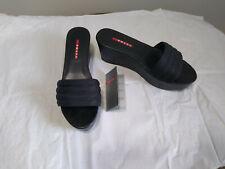 Prada Calzature Donna 3Xz182 Black Open Toe Canvas Platform Sandals Mule sz. 9