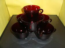 QTY 6 Vintage Anchor Hocking Coffee / Tea Cup Royal Ruby Red Depression Glass