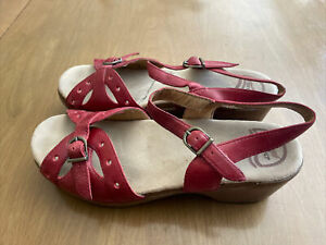 Dansko Sandals Red Leather Adjustable buckle Women's Sz 41/ 10.5
