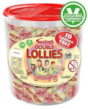 Swizzels Double 130 Lollies Tub Suitable for Vegetarian Fruity Pops  Gift Ideas