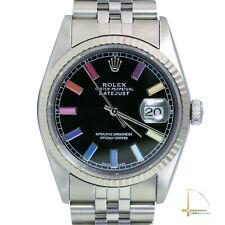 Rolex Datejust 16234 Black Rainbow Dial & Fluted Bezel Watch