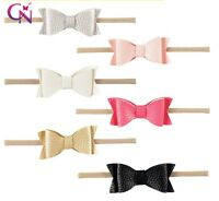 Nylon Leather Bow Newborn Baby Girl Toddler Kid Stretch Headband Hair Accessory
