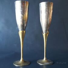 Pair of 9.5'' Tall Rustic Wine Glass Hbc Ep Brass 636g Made in India Wedding