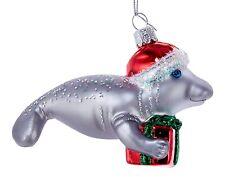 Kurt Adler Noble Gems Manatee Wearing Santa Hat Glass  Holiday Ornament