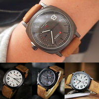 Men's Fashion Date Quartz Leather Band Watches Army Sport Analog Wrist Watch