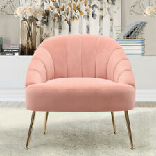 Matte Velvet Pink Scallop Oyster Armchair Tub Chair Living Bed Room Sofa Lounge