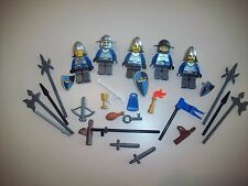 Lego Castle Kingdom Knights Lot D ~ Shields, Weapons, Blue & Gold Crown Knights