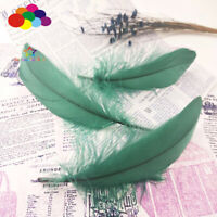 100 Pcs Goose feathers 15-20Cm/6-8Inch dark green Diy Stage Props Decor Headress
