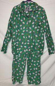Vintage JOE BOXER Golf Theme PJ Set Pajamas Green 80s 90s Size Medium