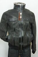 Brown GENUINE 100% SHEEPSKIN Shearling Leather Car Coat Bomber Jacket S-8XL, NWT
