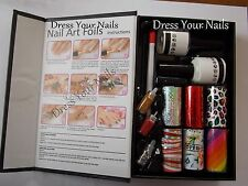 Nail Art Foil Set Pegamento + 6 * Láminas + Hoof Stick + top + Base Coat Brillo + Perlas