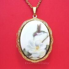 Porcelain HUMMINGBIRD & MAGNOLIA CAMEO Locket Pendant Necklace for Birthday Gift