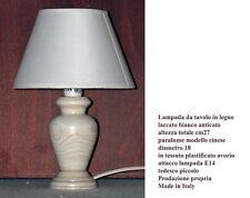 Lampada da tavolo lumetto comodino h27 abat jour in legno bianco anticato