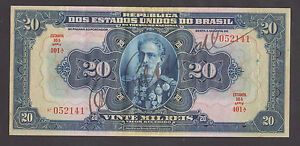 BRASIL   20 Mil Reis 1925 aXF  ESTAMPA 16A SERIE 401A  Handsigned banknote  RARE