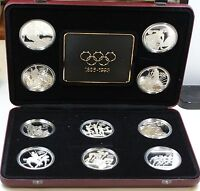 1996 Olympic Centennial 10 Piece Coin Set-Sterling Silver-5 Countries; case flaw