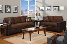 Modern Micro suede Sofa and Love Seat Living Room Furniture Set - Chocolate