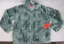 NEW Men's Black Mountain Mint Green Trees Fleece Full Zip Jacket XXL NWT